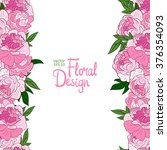 pink hand drawn peonies border ... | Shutterstock .eps vector #376354093