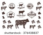 set of beef logo. butchery...