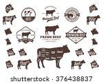 set of beef logo. beef cuts... | Shutterstock .eps vector #376438837
