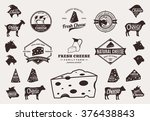 set of cheese logo  icons and... | Shutterstock .eps vector #376438843