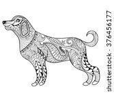 Vector Zentangle Dog Print For...