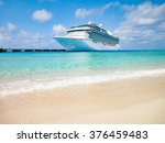 white cruise ship docked at... | Shutterstock . vector #376459483