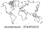 freehand world map sketch on... | Shutterstock .eps vector #376491013