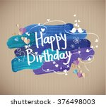 happy birthday  text on... | Shutterstock .eps vector #376498003