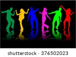 dancing people silhouettes. | Shutterstock .eps vector #376502023