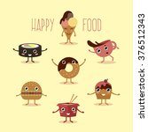 happy fast food with hands and...   Shutterstock .eps vector #376512343