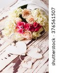 luxury bouquet of roses lying... | Shutterstock . vector #376561507
