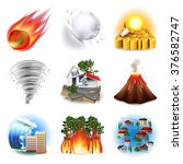 natural disasters icons photo... | Shutterstock .eps vector #376582747