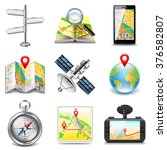 maps and navigation icons photo ... | Shutterstock .eps vector #376582807