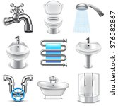 plumbing icons detailed photo... | Shutterstock .eps vector #376582867