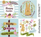 vector easter set with cute... | Shutterstock .eps vector #376586677