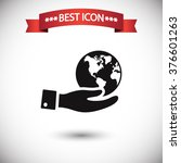 globe in hand icon vector