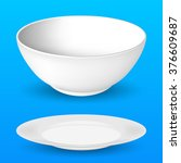 bowl and plate  realistic... | Shutterstock .eps vector #376609687