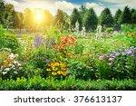 Multicolored Flowerbed In Park...