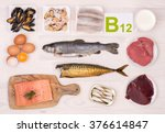 vitamin b12 containing foods | Shutterstock . vector #376614847