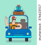 happy traveler rides by the car ... | Shutterstock .eps vector #376623517