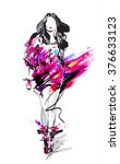 fashion model. sketch | Shutterstock . vector #376633123