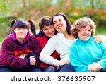 group of happy women with...   Shutterstock . vector #376635907