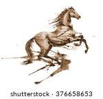 wet watercolor rearing up horse ... | Shutterstock . vector #376658653