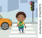 Boy Crossing Street  Vector...