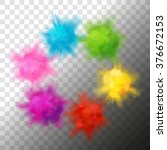 Set of vector realistic color paint powder clouds or explosions. Volumetric abstract Holi decorative elements isolated   Shutterstock vector #376672153
