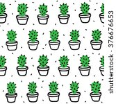 hand drawn cactus doodle... | Shutterstock .eps vector #376676653