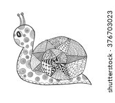 zentangle stylized snail.... | Shutterstock .eps vector #376703023
