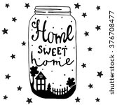 jar with text and house  yard ... | Shutterstock .eps vector #376708477
