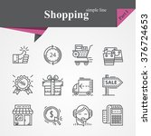simple thin line icons set on... | Shutterstock .eps vector #376724653