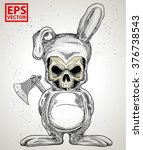rabbit skull or horror clown... | Shutterstock .eps vector #376738543