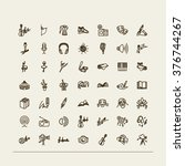 set of icons    music  stage ... | Shutterstock .eps vector #376744267