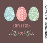 vector easter card design with... | Shutterstock .eps vector #376762897