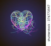 bright heart with colored lines ... | Shutterstock .eps vector #376773547