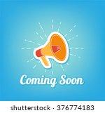 poster coming soon. loudspeaker   Shutterstock .eps vector #376774183