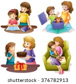 mother and child doing... | Shutterstock .eps vector #376782913