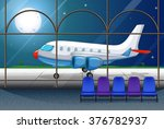 airport scene with airplane... | Shutterstock .eps vector #376782937
