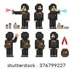 set of pixel art characters...