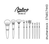 makeup brushes kit  isolated on ... | Shutterstock .eps vector #376817443