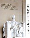 Small photo of Washington DC, US - JANUARY 07, 2009 - Statue of Abraham Lincoln, Lincoln Memorial, Washington DC