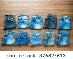 collection jeans stacked on a... | Shutterstock . vector #376827613