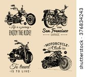 custom chopper and motorcycle... | Shutterstock .eps vector #376834243