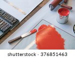 metalic solvent paint in cans... | Shutterstock . vector #376851463