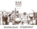Vector design with hand drawn drinks illustration. Vintage beverages sketch background. Retro template isolated on white. | Shutterstock vector #376854967