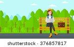 woman working on laptop. | Shutterstock .eps vector #376857817