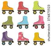 set of patterned roller skates | Shutterstock .eps vector #376875523