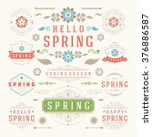 spring typographic design set.... | Shutterstock .eps vector #376886587