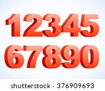 set of vector numbers  from 1... | Shutterstock .eps vector #376909693