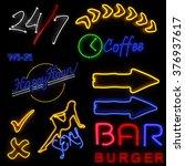 neon sign set on black... | Shutterstock . vector #376937617