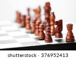 chess pieces and game board on... | Shutterstock . vector #376952413
