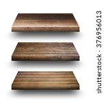 wooden shelves isolated on white | Shutterstock . vector #376956013